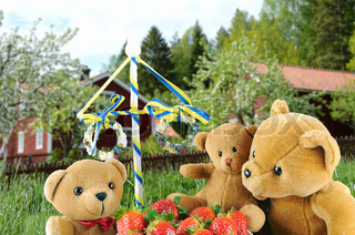 Teddy bears, strawberries and a midsummer pole with a beautiful background