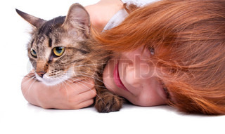 childwith her cat
