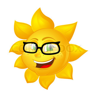 smart cartoon sun in glasses