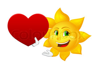 smiling sun with big heart