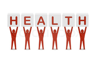 Men holding the word health. Concept 3D illustration.