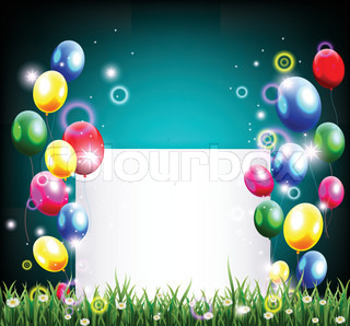 birthday background with place for text and grass decoration