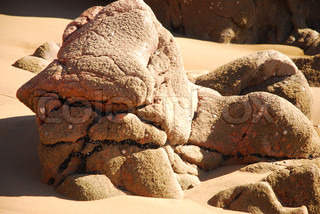 Sculptural Rounded Rocks on a Beach