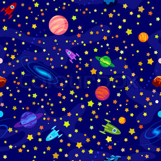 Seamless pattern with planets, stars on blue background: https://www.colourbox.com/vector/alien-in-the-space-ship-vector...