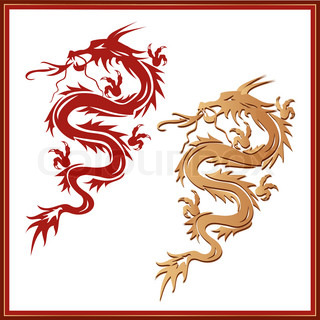 Set of dragons - symbol of oriental culture