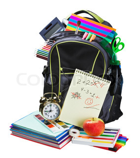 Backpack full of school supplies on white