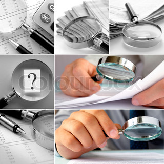 Composite image of magnifying glasses in an office