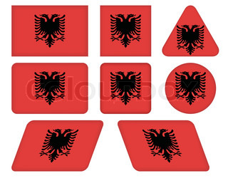 set of buttons with flag of Albania