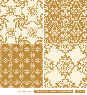 Beautiful seamless patterns vector wallpapers floral fashion fabrics
