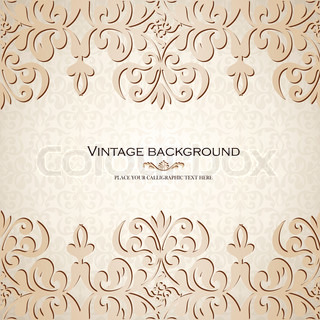 Vintage background, antique greeting card, invitation with lace and floral ornaments, beautiful, luxury postcard, old paper, ornate page cover, ornamental vintage brochure template for design