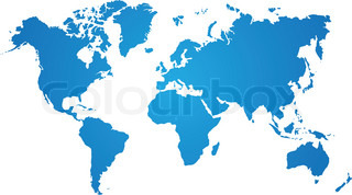blue world map on white background