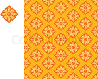 vector laithai flower texture yellow pattern