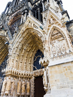 Entrance in Notre-Dame Cathedral in Reims, France
