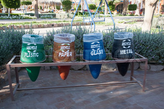 Old containers for recycling waste sorting
