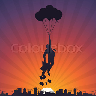Business man flying on balloons to the sky