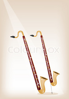A Musical Bass Clarinet on Brown Stage Background