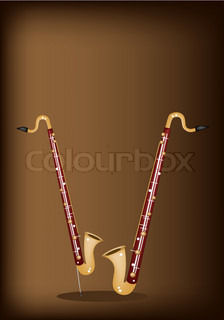 A Musical Bass Clarinet on Dark Brown Background