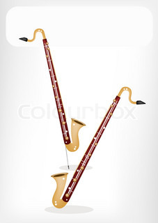 A Musical Bass Clarinet with A White Banner
