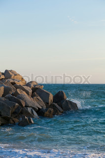 Sight of a rocky part of the Beach in Vilassar of Sea