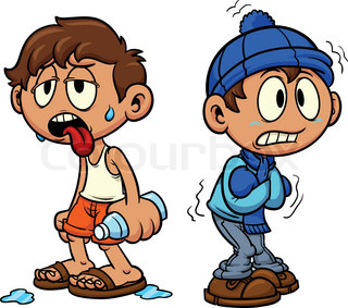 Cartoon kid in hot and cold weather