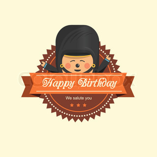 Birthday label with a soldier in brown
