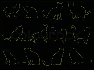 Collection of cats on black background - vector