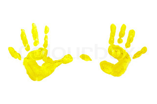 Yellow prints of children's hands isolated on white background