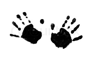 Black prints of children's hands isolated on white background