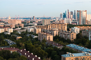 Moscow skyline in early evening