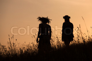 Silhouettes of People picking flowers during midsummer soltice