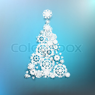 Paper christmas tree made from snowflakes EPS 10