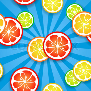 Slices of funny fresh citrus fruits on blue beams background