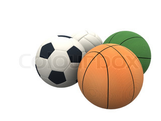 four sporting balls in 3d