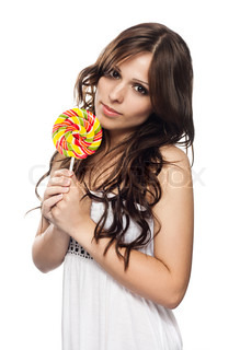 Pretty young woman with lollipop candy