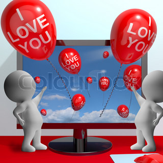 I Love You Balloons Shows Love And Online Dating