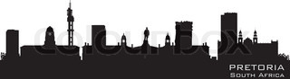 Pretoria South Africa skyline Detailed silhouette Vector illustration
