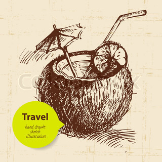 Vintage Travel Background With Coco Cocktail Hand Drawn Illustration