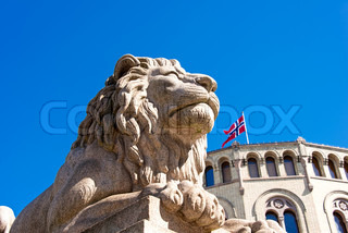 Lion statue near Norwegian parliament Storting Oslo, Norway - Stock ...
