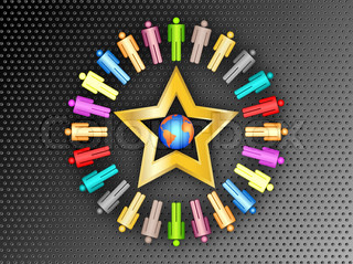 colorful planet business people connection with gold star team work on black metal background vector illustration