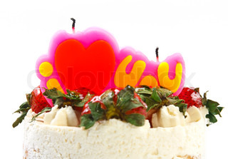 butter cream cake with strawberry & candle