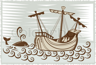 galleon sailing ship at sea with whale