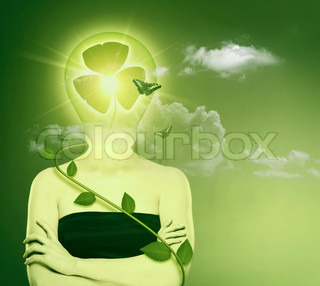 Green energy and eco protection concept Female abstract portrait