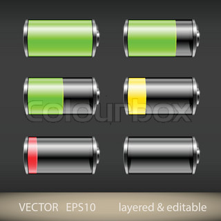 battery icons stock vektor colourbox. Black Bedroom Furniture Sets. Home Design Ideas