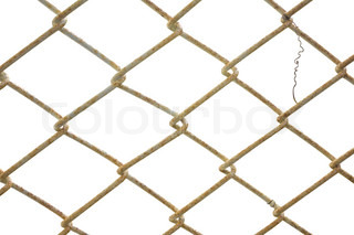 Old wire fence seamless isolated on white