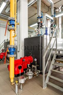innenraum gas heizraum mit mehreren pumpen und rohrleitungen stock foto colourbox. Black Bedroom Furniture Sets. Home Design Ideas