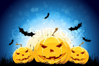 Halloween black and blue background with pumpkins, grass and bat