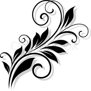 Simple Black And White Swirling Floral Stock Vector Colourbox
