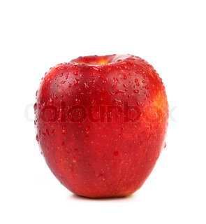 wet red apple isolated on white background