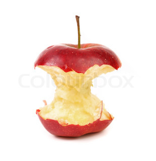 Red apple core on a white background