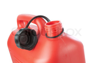 Red plastic canister for transportation of gasoline On a white background